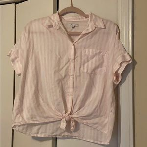 Madewell white and blush pink top